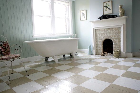 bathroom pastel vintage
