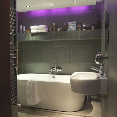 bathroom slate with purple