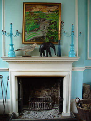 fireplace in retro-blue