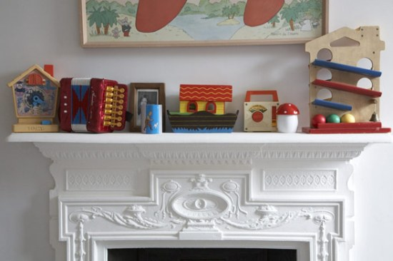 toys on the mantlepiece