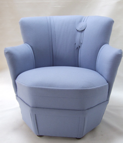 1950s chair in blue felt