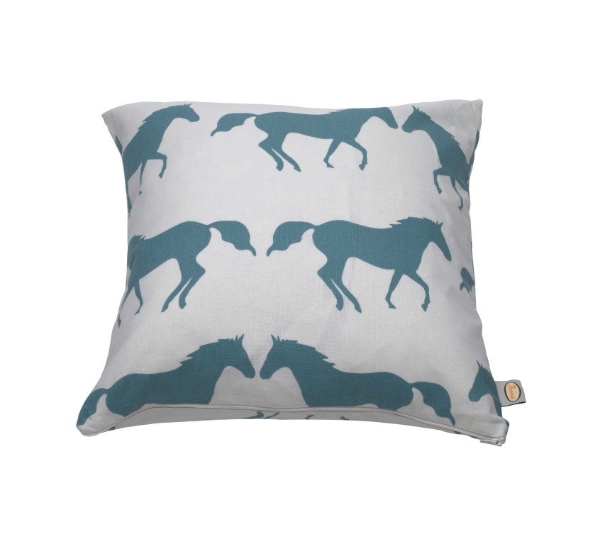 anorak kissing horses cushion