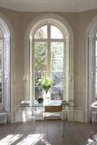 white desk in window